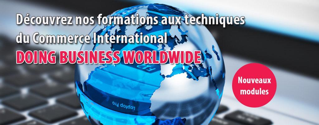 Découvrez nos formations aux techniques  du Commerce International: DOING BUSINESS WORLDWIDE