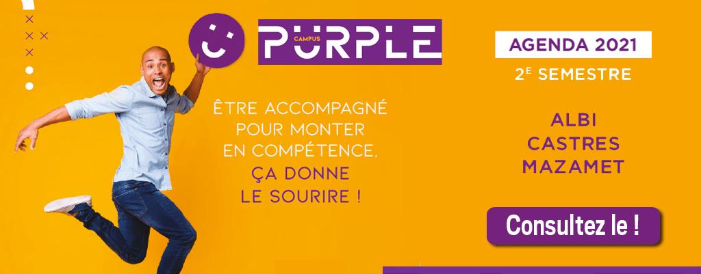 Consultez le calendrier des formations entreprises Purple Campus pour le deuxiéme semestre2021.